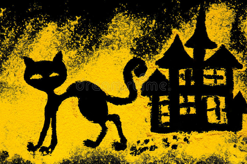 Symbol Halloween Black Cat Is Decorated With Turmeric Stock Image