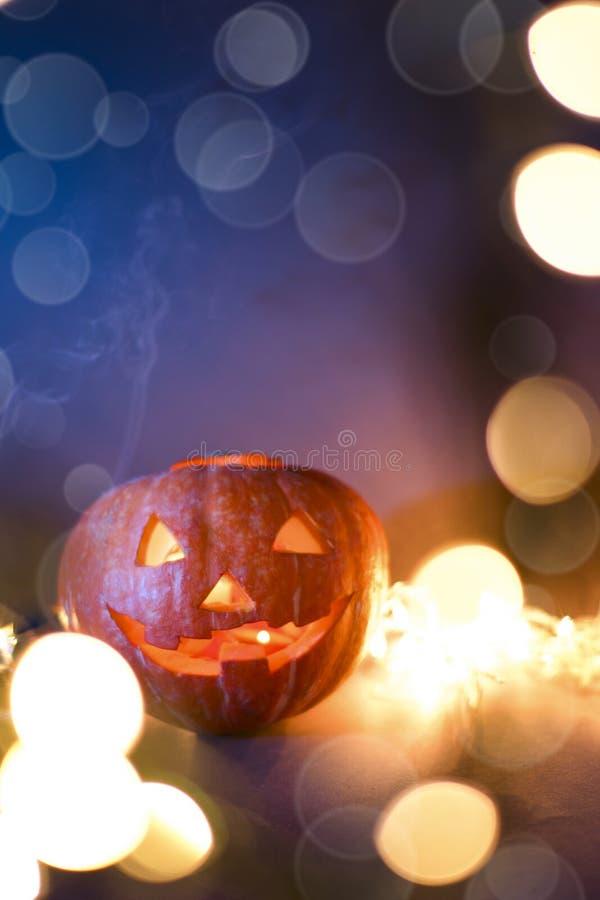 Jack O Lantern Halloween pumpkins, burning candles. Symbol of halloween royalty free stock photos