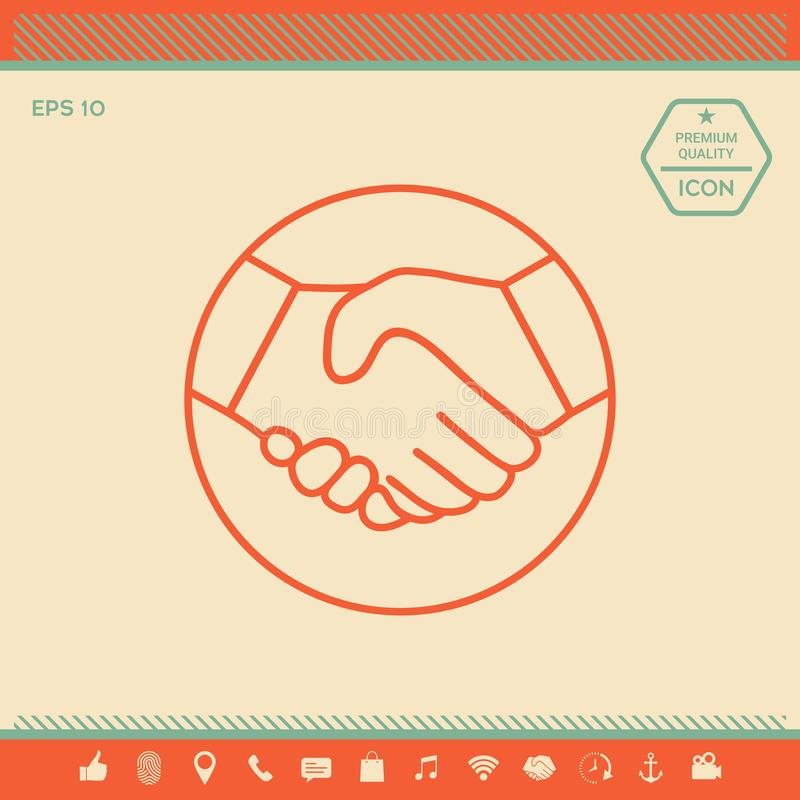 Symbol Of Handshake In Circle Line Icon Stock Vector Illustration