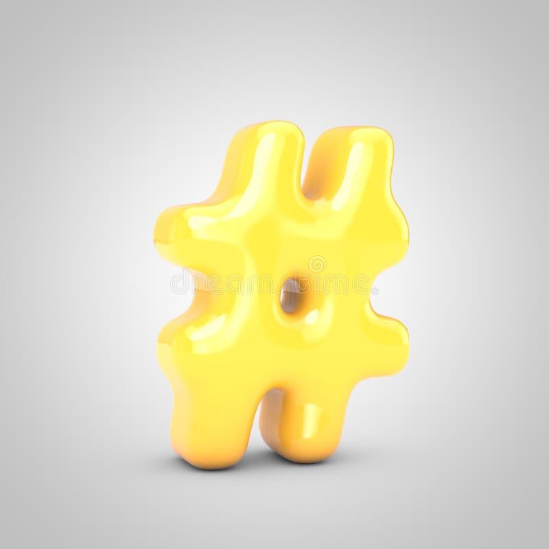 Symbol hashtagu Yellow Fruit Bbble Gum wyizolowany na białym tle royalty ilustracja
