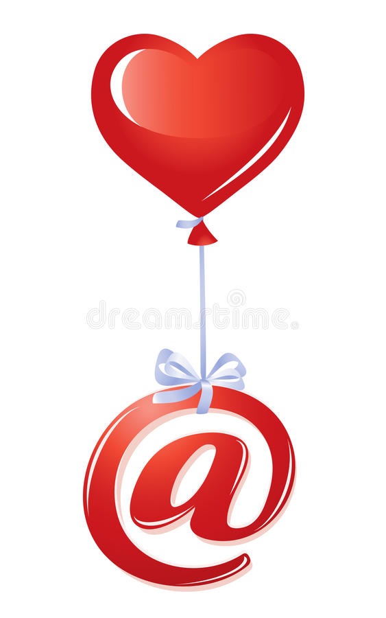At Symbol With Heart Balloon Stock Vector Illustration Of Letter