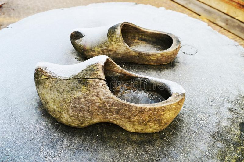 Symbol of Holland, wooden shoes royalty free stock photography