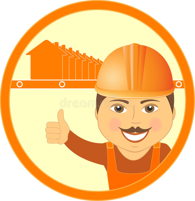 Download Symbol With House And Cartoon Worker Stock Vector - Illustration of commercial, happy: 25215583