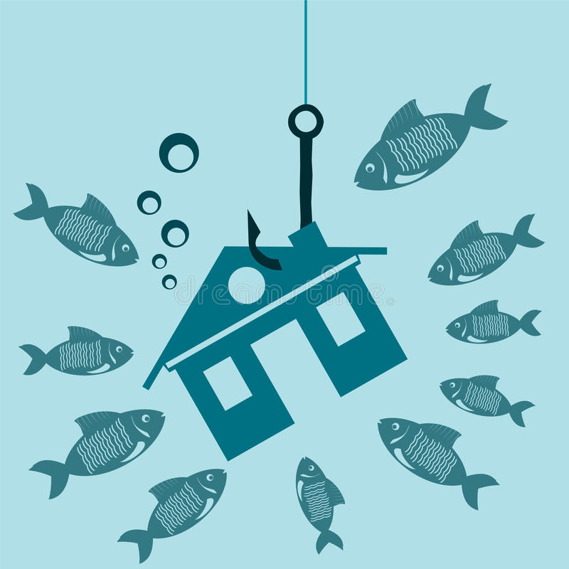 The symbol of the house on a hook under water with the fish. Investments in real estate, construction. The lure for a mortgage. The crisis, the debt for vector illustration