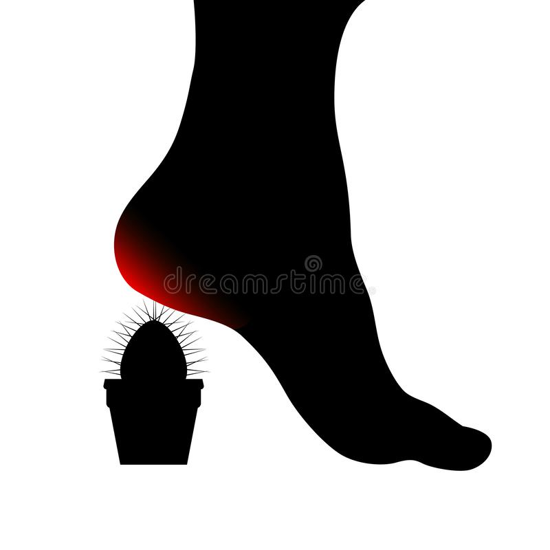 Symbol of Human foot with painful sore red heel. Cactus spines pierce the female foot. Foot health concept. Vector object isolated stock illustration