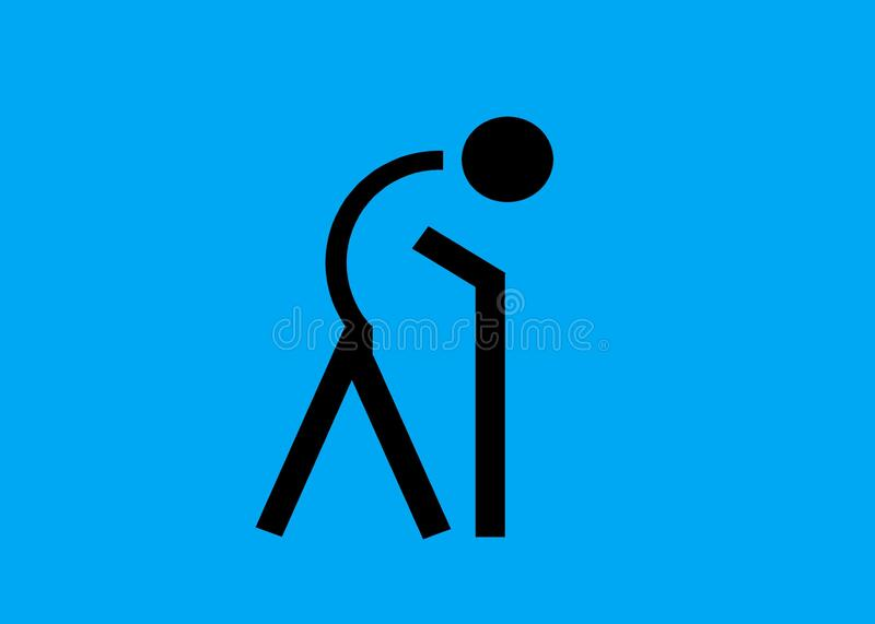 A symbol icon of a person with bend back using a walking stick against a blue backdrop. A computer generated illustration image of a person with bend back using royalty free illustration