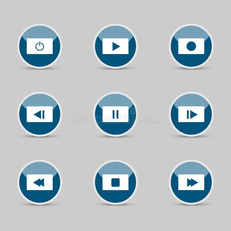 Symbol icon set media player control white round buttons. illustrator vector illustration