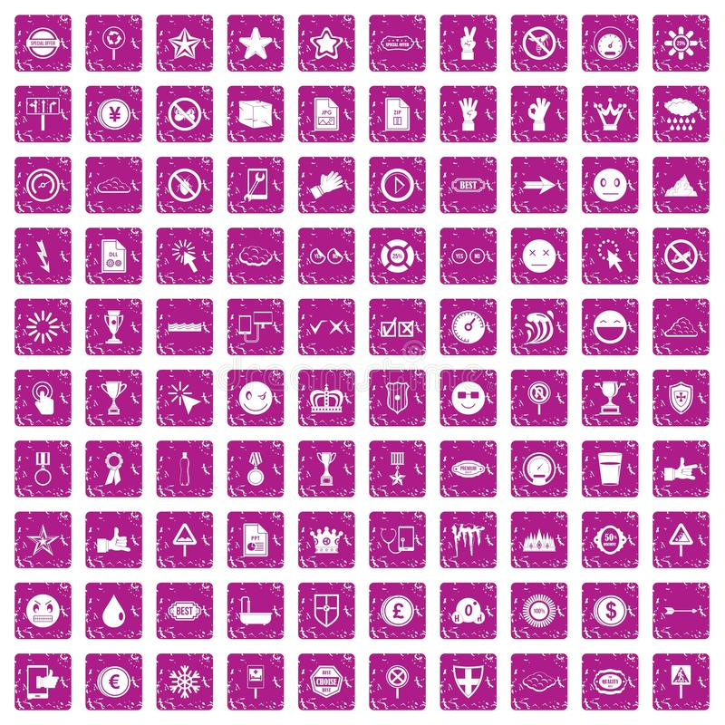 100 symbol icons set grunge pink vector illustration