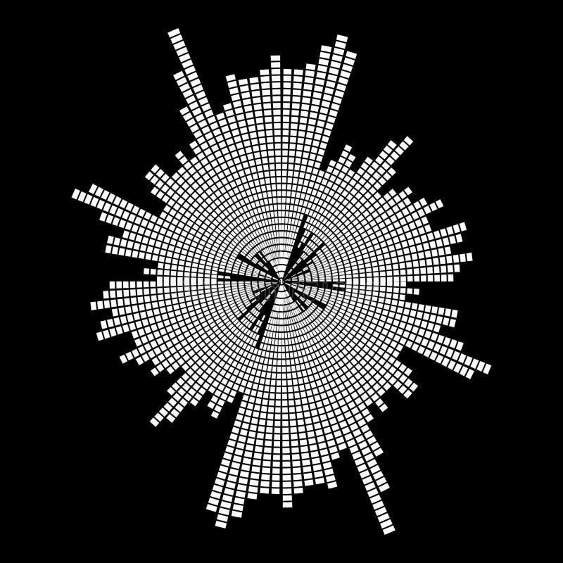 Symbol-Ikonenentwurf des runden Musikwellenentzerrers solider an lokalisiert vektor abbildung