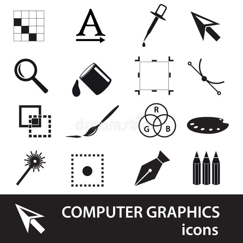 Symbol-Ikonensatz der Computer-Animation schwarzer stock abbildung