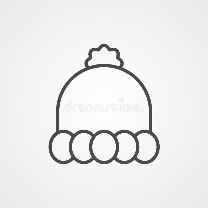 Symbol ikony kapelusza zimowego ilustracja wektor