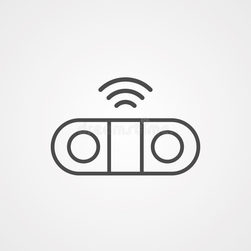 Symbol ikony wektora głośnika sieci bezprzewodowej royalty ilustracja