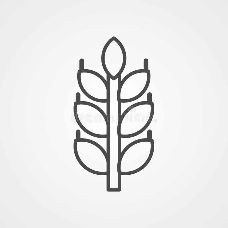 Symbol ikony wektora pszenicy ilustracji