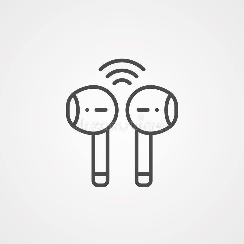 Symbol ikony wektora słuchawkowego sieci bezprzewodowej ilustracja wektor