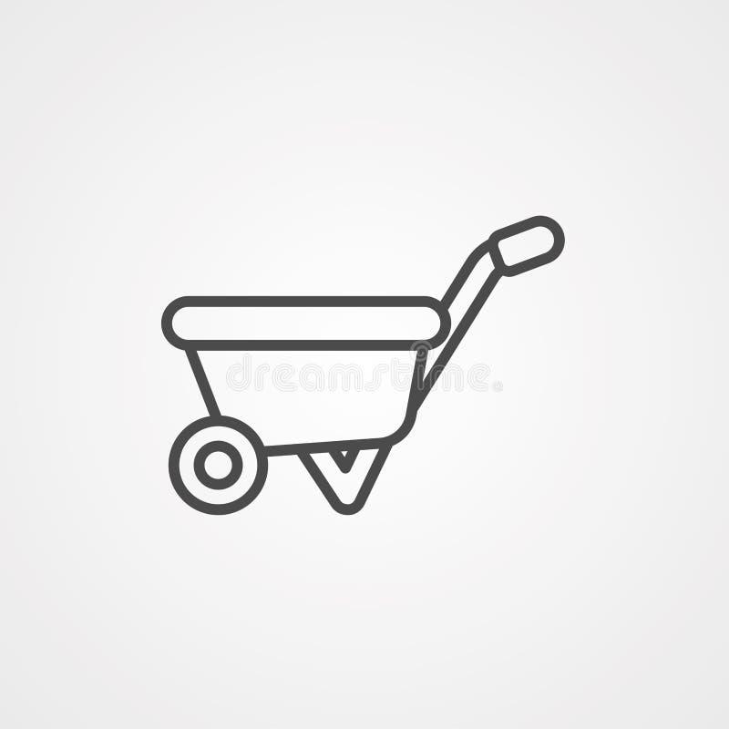 Symbol ikony wektora taczki kołowej ilustracji