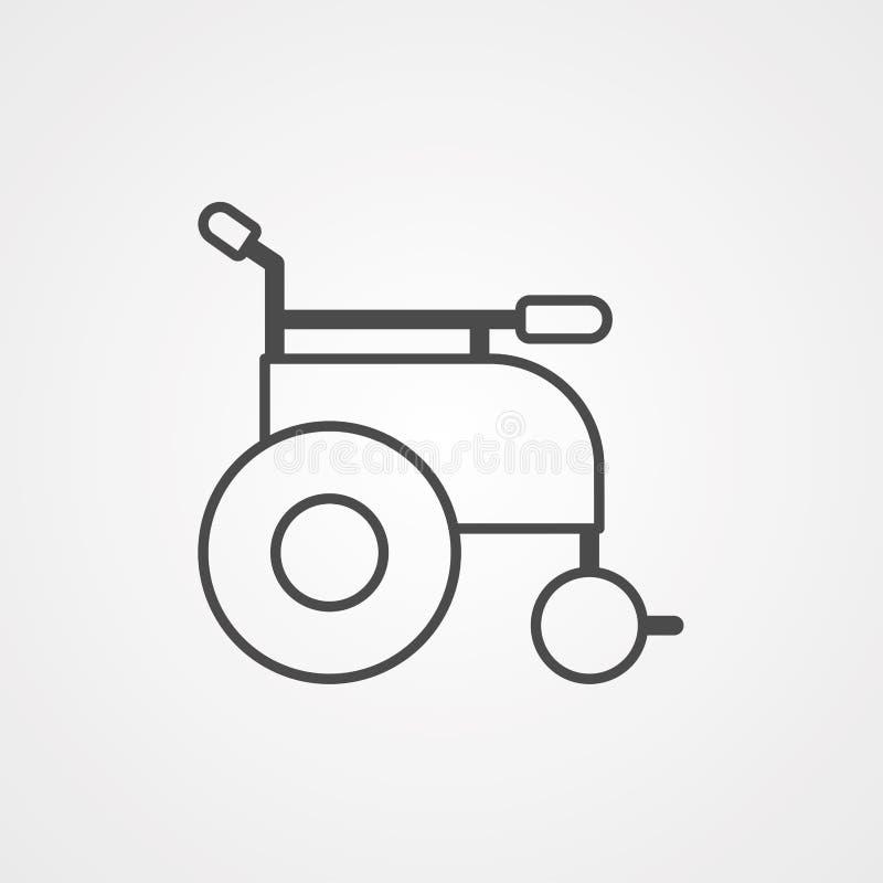 Symbol ikony wektora wózka inwalidzkiego royalty ilustracja