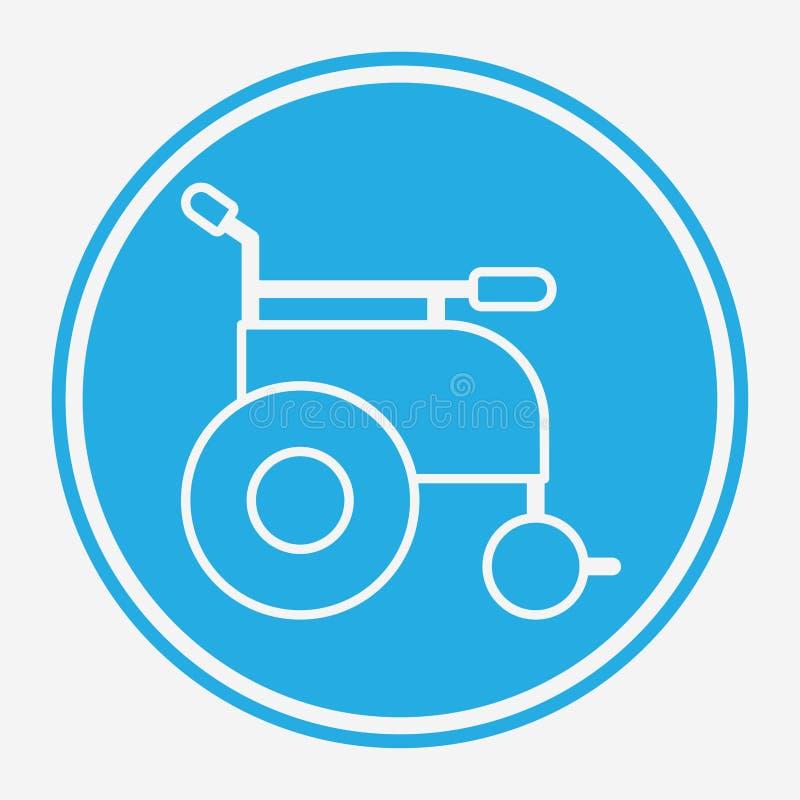 Symbol ikony wektora wózka inwalidzkiego ilustracji