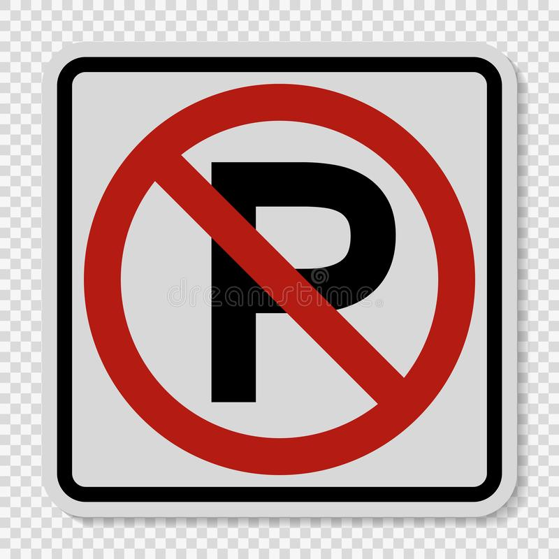 symbol inget parkeringstecken på genomskinlig bakgrund stock illustrationer