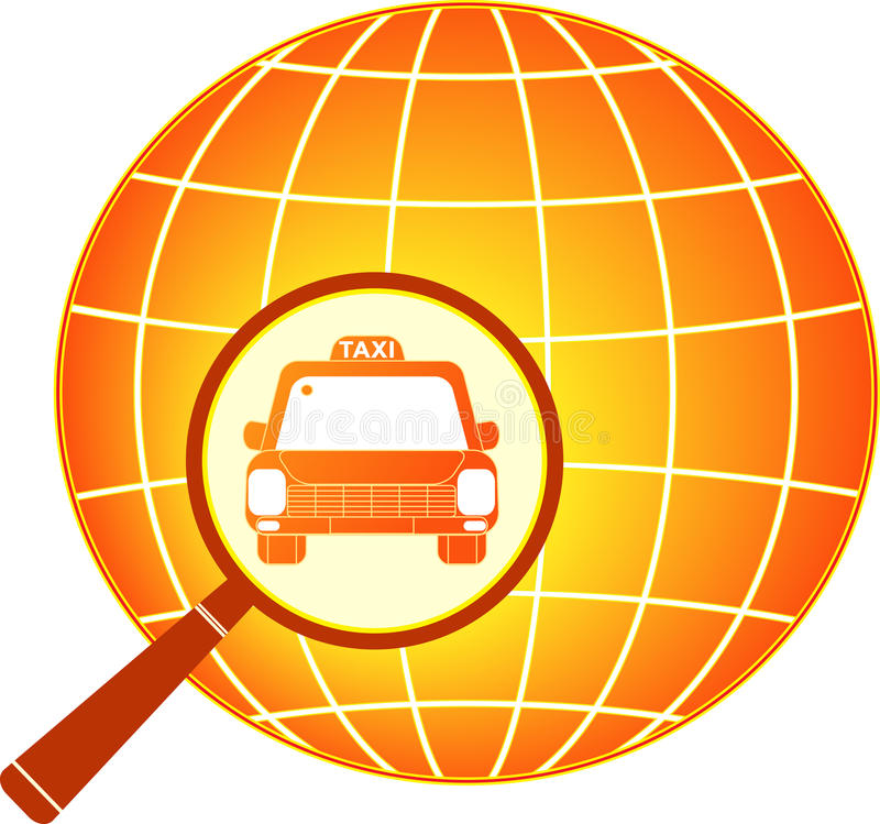 Symbol international taxi with planet vector illustration