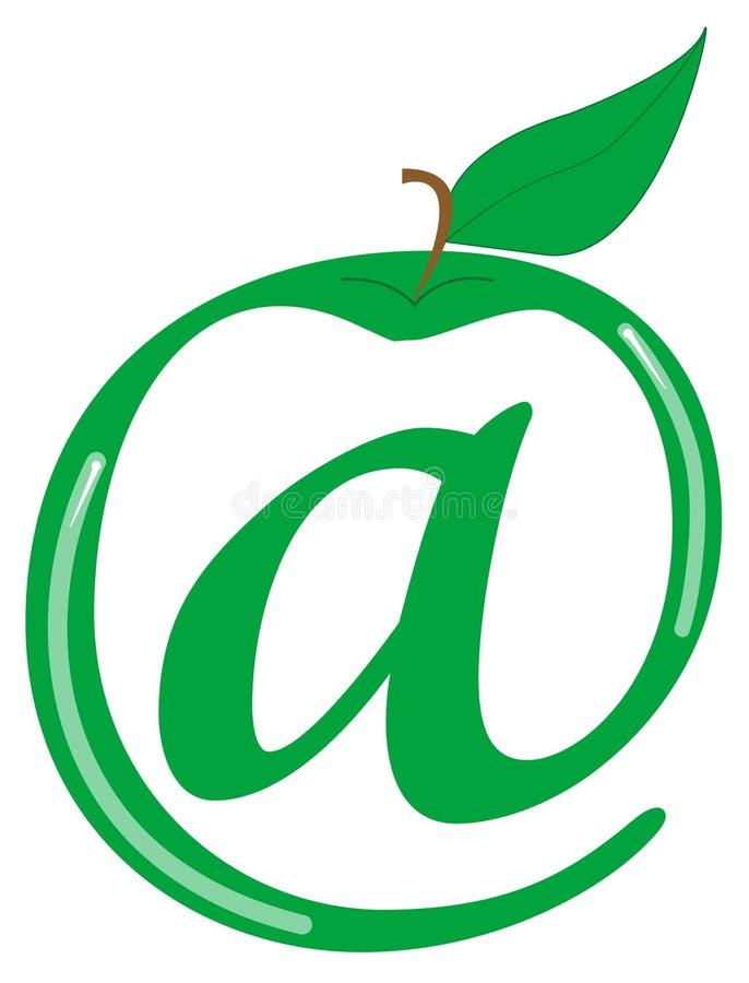 Symbol for internet. Green apple and symbol for internet stock illustration