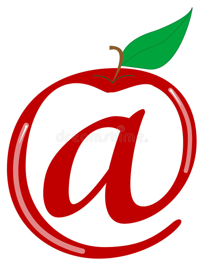 Symbol for internet. Apple and symbol for internet stock illustration