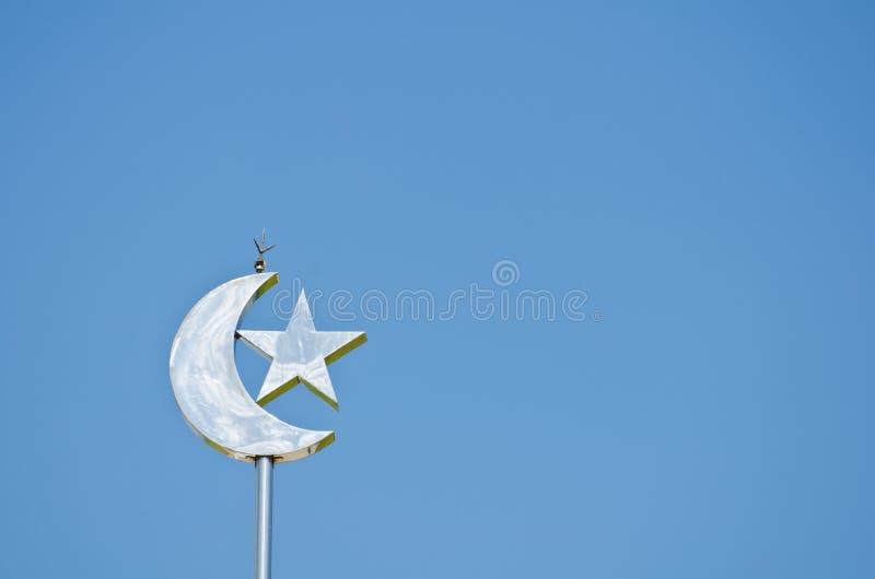 Symbol of Islam. Moon and star symbol of Islam stock image