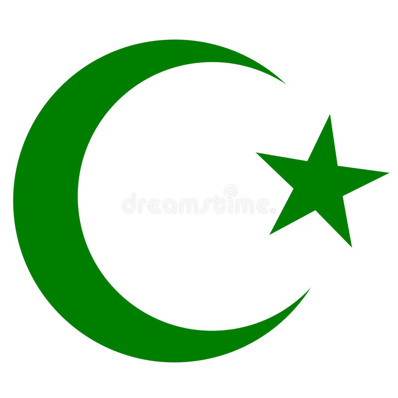 symbol of islam crescent and star dark green stock vector