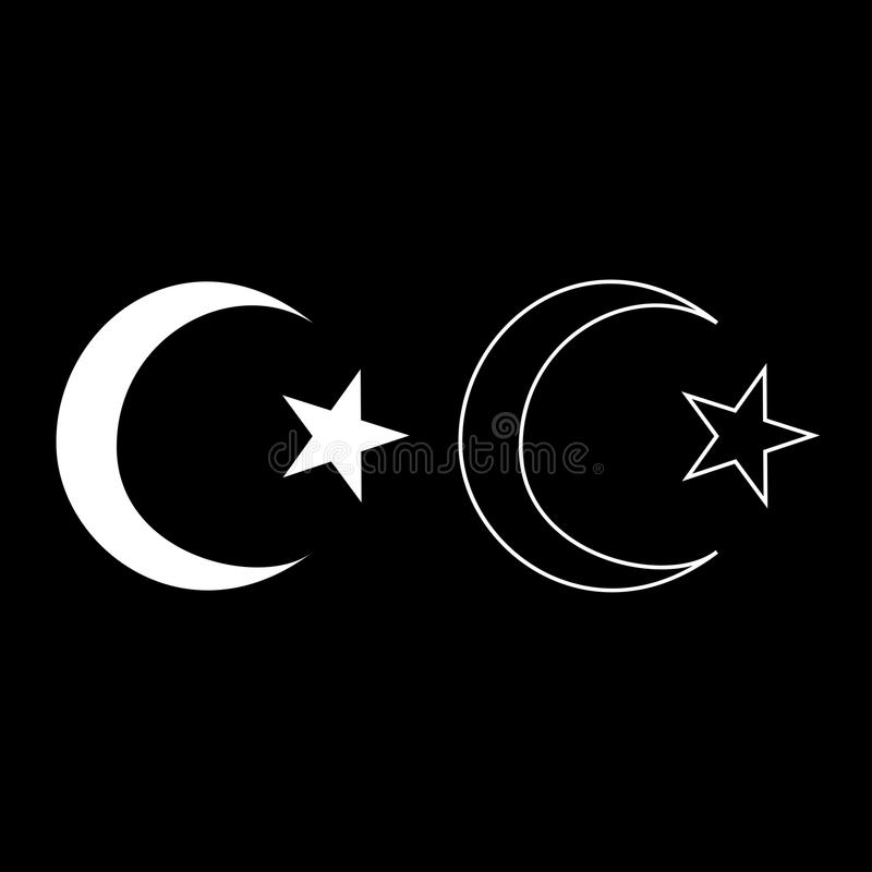 Symbol Of Islam Crescent And Star With Five Corners Icon Set White
