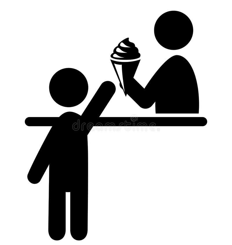 Symbol Isolat för lager för folk och för glass för sommartidPictogramlägenhet vektor illustrationer