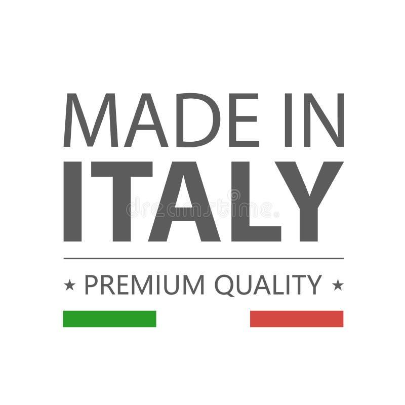 symbol italy gjorde högvärdig kvalitet Etikett med den italienska flaggan royaltyfri illustrationer