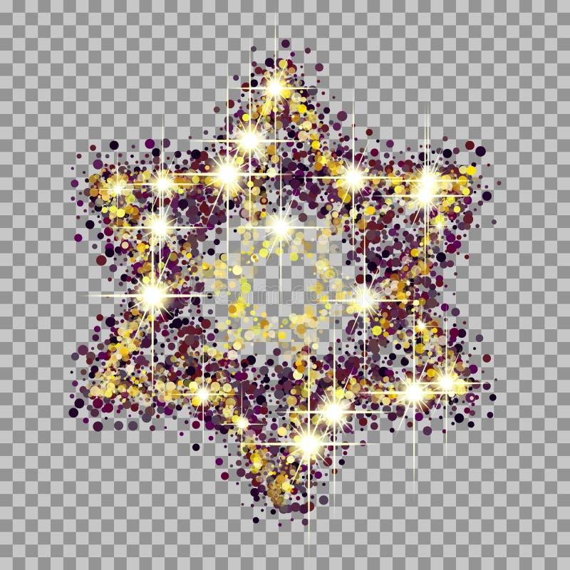 The symbol of the Jewish star. A beautiful symbol of the Jewish star. glow and glitter effects stock illustration