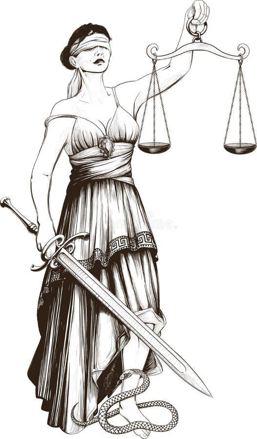 Symbol of justice Femida stock illustration