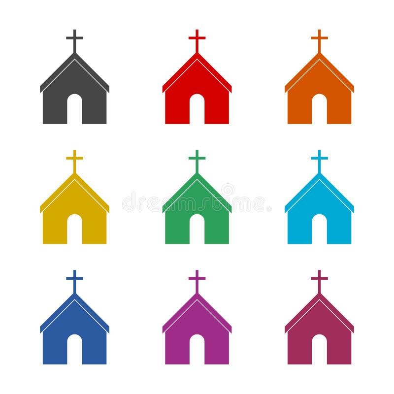 Symbol-Kirchengebäude, Kirchenikone, Farbikonen eingestellt lizenzfreie abbildung