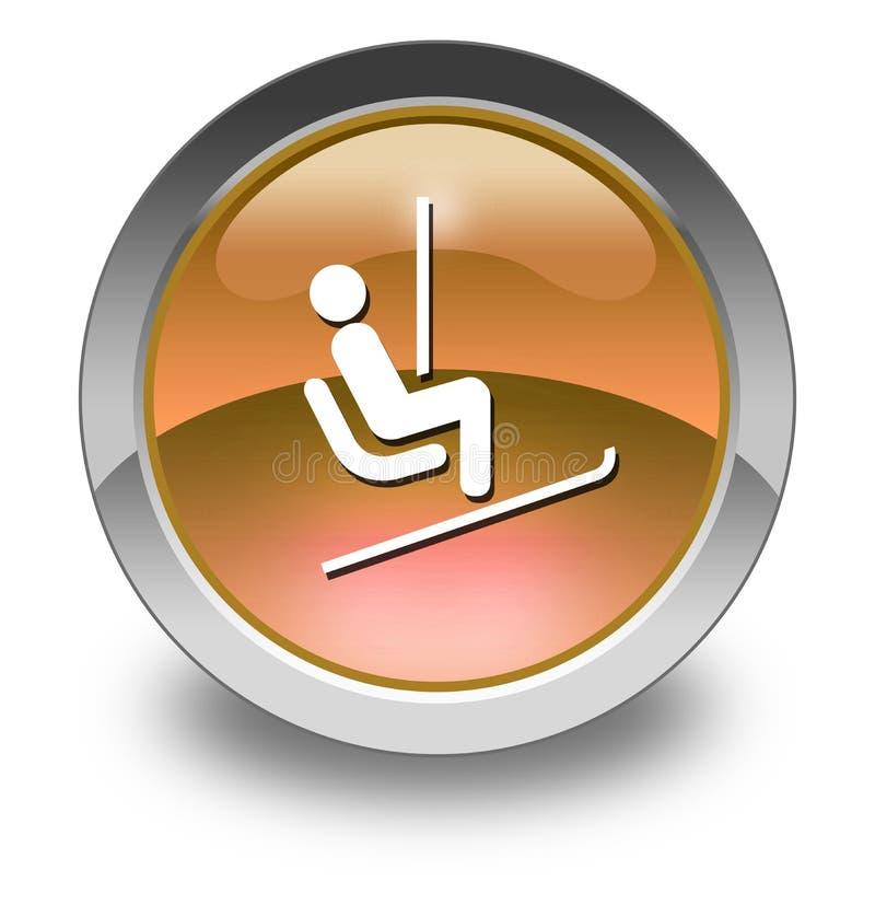 Symbol knapp, Pictogram Ski Lift stock illustrationer