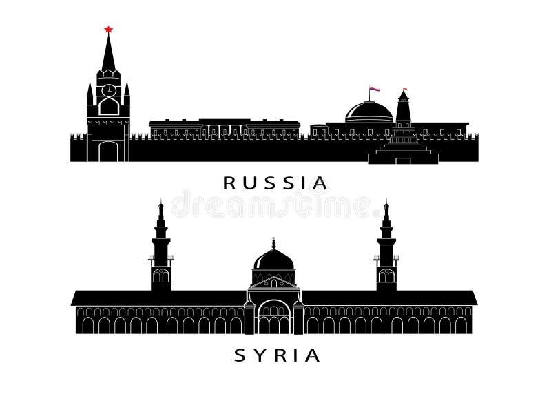 Symbol Kreml till Ryssland och en moské i Syrien stock illustrationer