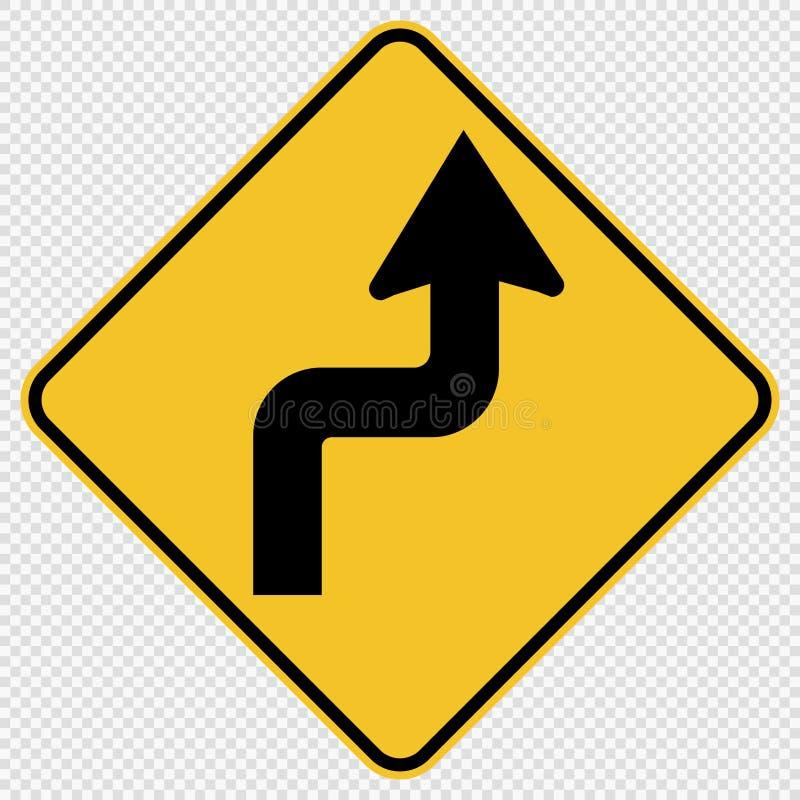 Symbol kurvt voran rechtes Verkehrs-Verkehrsschild auf transparentem Hintergrund stock abbildung