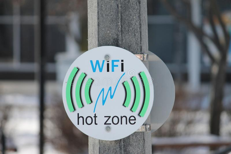Symbol and label Wifi hot zone stock image