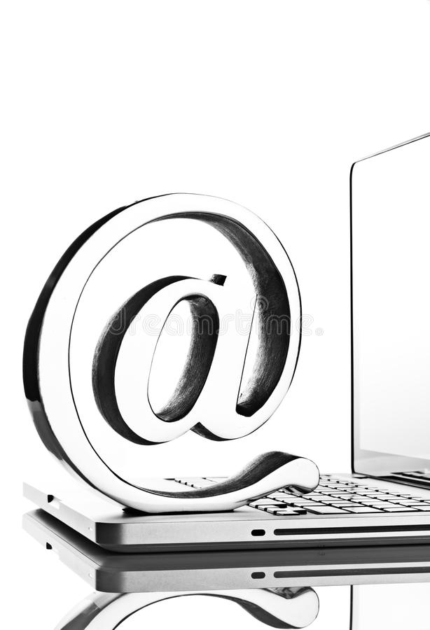 Download At symbol with laptop stock image. Image of laptop, email - 24560545