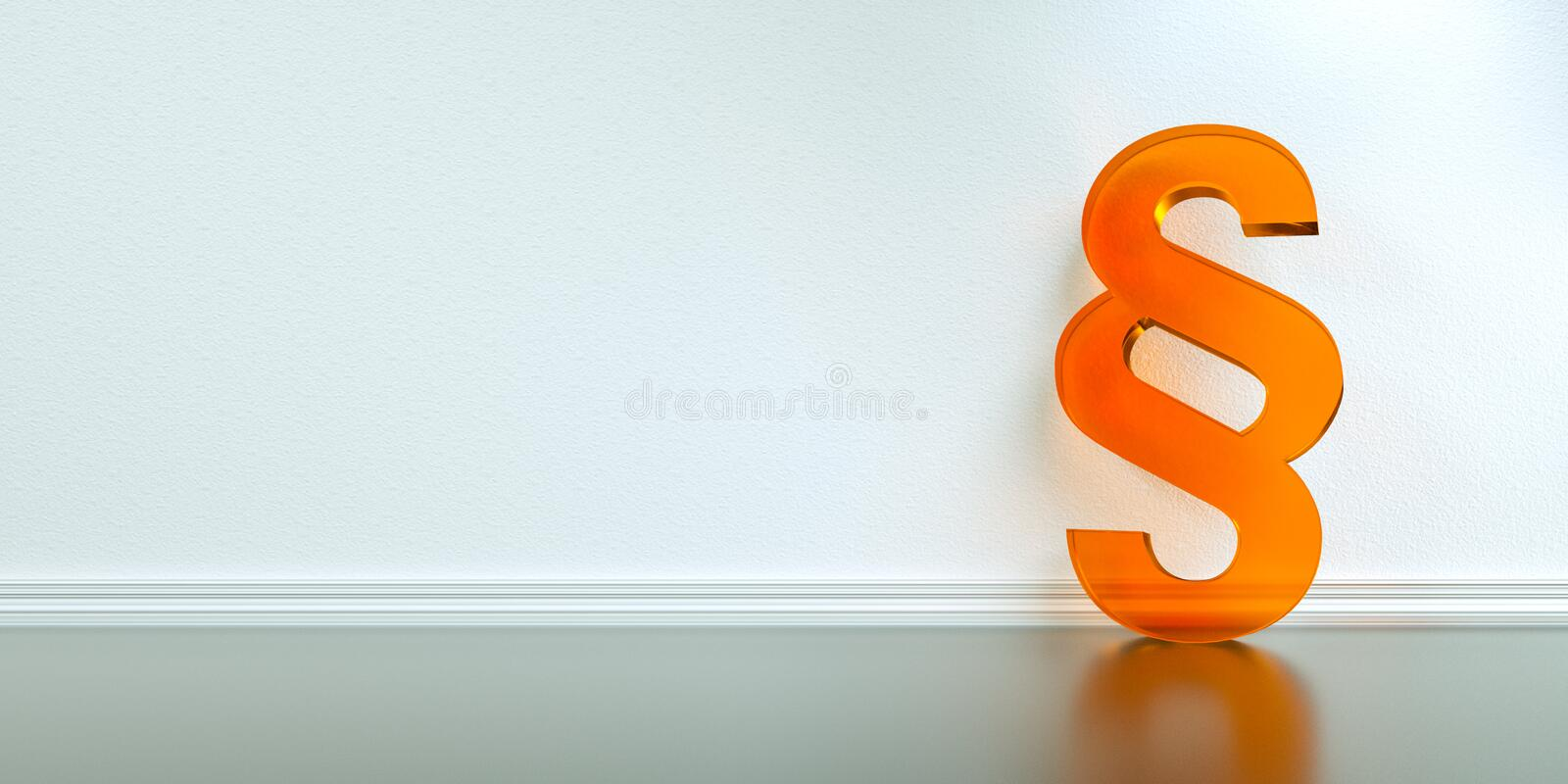 Symbol of Law and Justice - Paragraph / section sign. On the floor in apartment stock photos