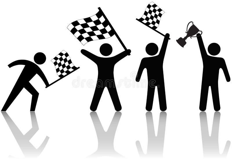 Symbol-Leute bewegen Checkered Markierungsfahnen-Trophäe wellenartig stock abbildung
