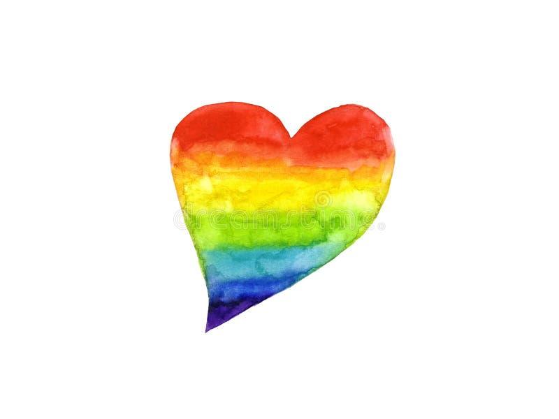 Symbol LGBT f?r vattenf?rgregnb?gehj?rta eller lesbisk kvinna, b?g, bisexuell person, Transgender royaltyfri illustrationer