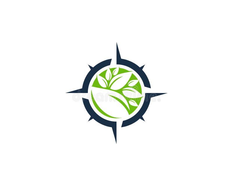 Symbol Logo Design Element för naturEco kompass royaltyfri illustrationer