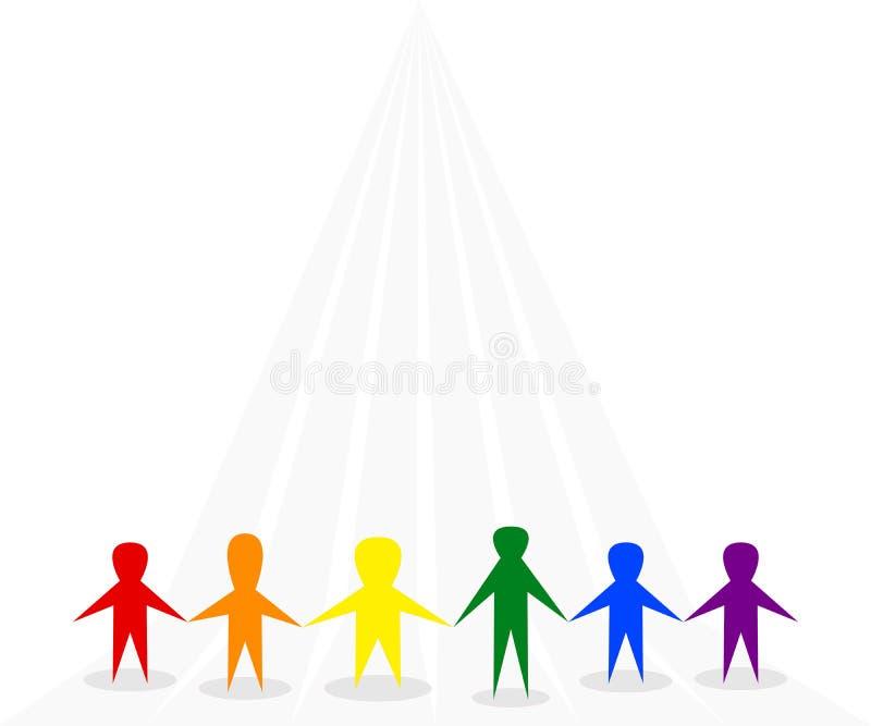 Symbol ludzie stoi wpólnie na szarym tle, używa LGBTQ tęczy symbolicznych kolory czerwień, pomarańcze, kolor żółty, zieleń, błęki ilustracji