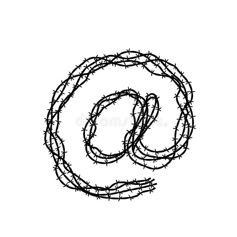 At Symbol Made From Barbed Wire Concept Idea Illustration Black ...