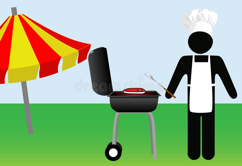 Download Symbol Man Chef Cooks Out On Barbecue Stock Vector - Illustration: 8384555