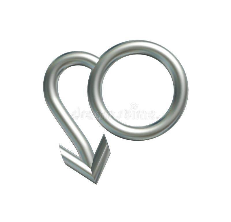 Symbol man. Erectile dysfunction in silver symbol man stock illustration