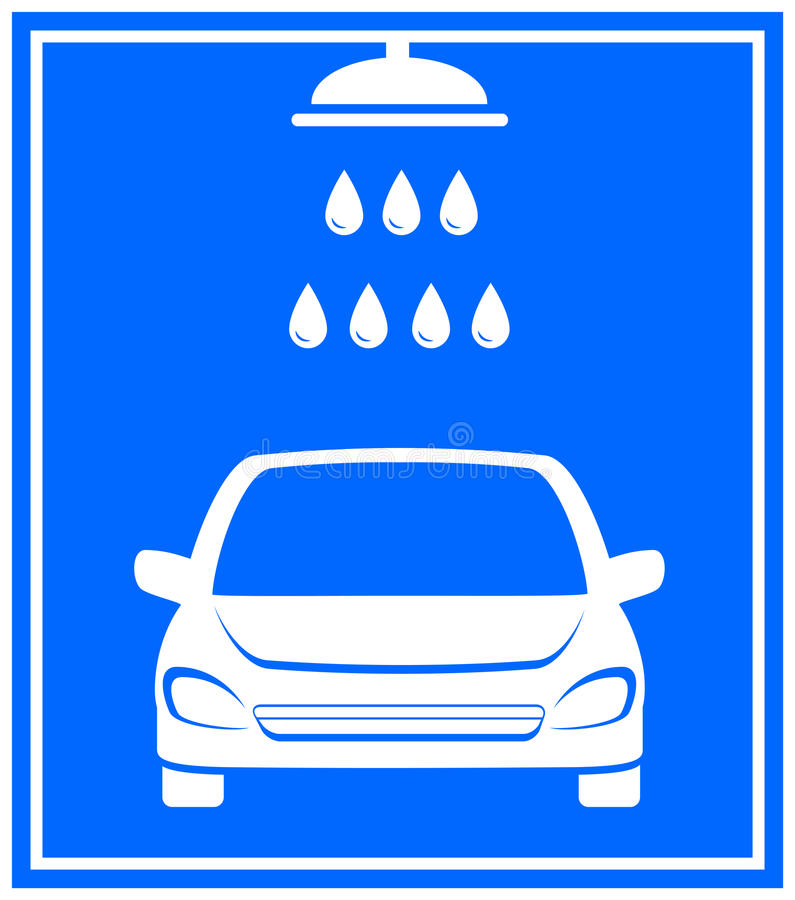 Symbol med biltvagning stock illustrationer