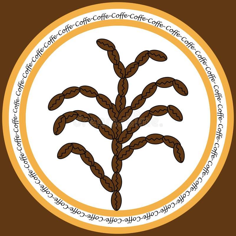 Symbol med kaffebönor stock illustrationer