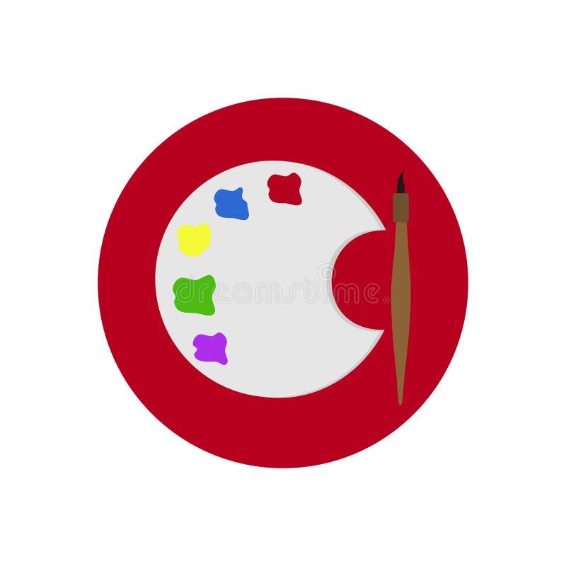 Symbol med paletten av målarfärger och borsten royaltyfria bilder