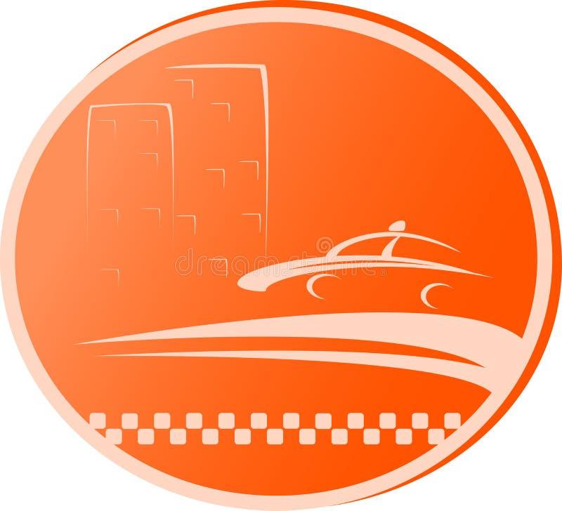 Symbol med vägen, taxibilen och huset stock illustrationer